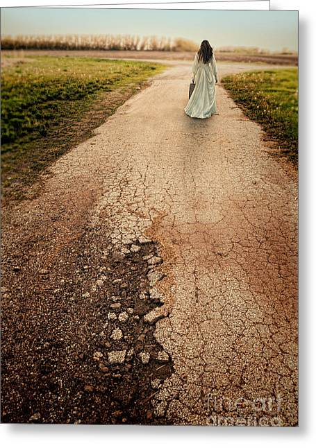 Bridal Gown Greeting Cards - Bride Walking Away Greeting Card by Jill Battaglia