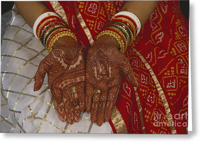 Brides Hands India Greeting Card by Dhiraj Chawda