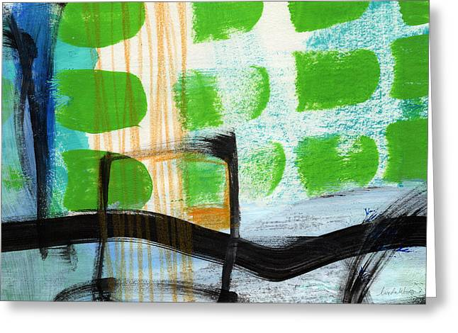 Green Living Greeting Cards - Bridge- Abstract Landscape Greeting Card by Linda Woods