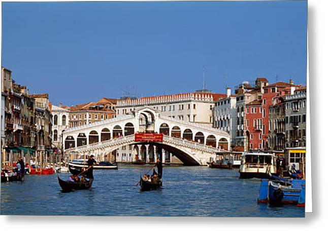 Gondolier Greeting Cards - Bridge Across A Canal, Rialto Bridge Greeting Card by Panoramic Images