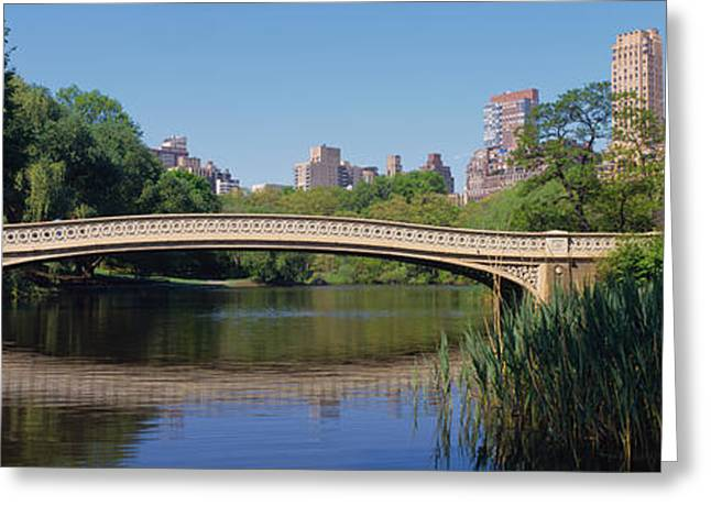 Bow Bridge Greeting Cards - Bridge Across A Lake, Central Park, New Greeting Card by Panoramic Images