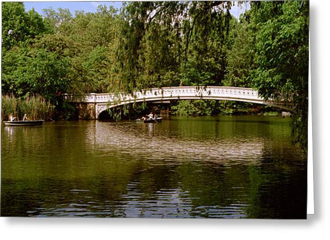 Park Scene Greeting Cards - Bridge Across A Lake, Central Park Greeting Card by Panoramic Images