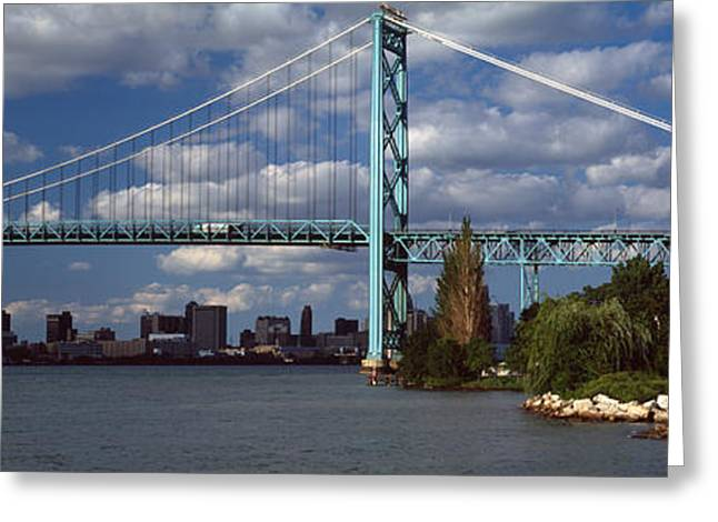 Detroit Photography Greeting Cards - Bridge Across A River, Ambassador Greeting Card by Panoramic Images