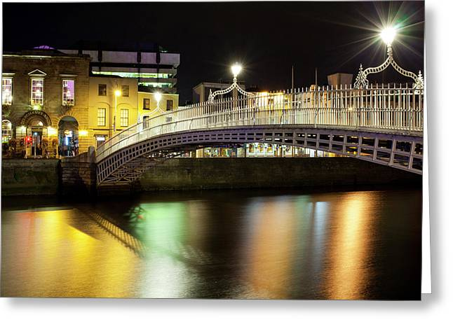 Bridge Across A River At Night, Hapenny Greeting Card by Panoramic Images