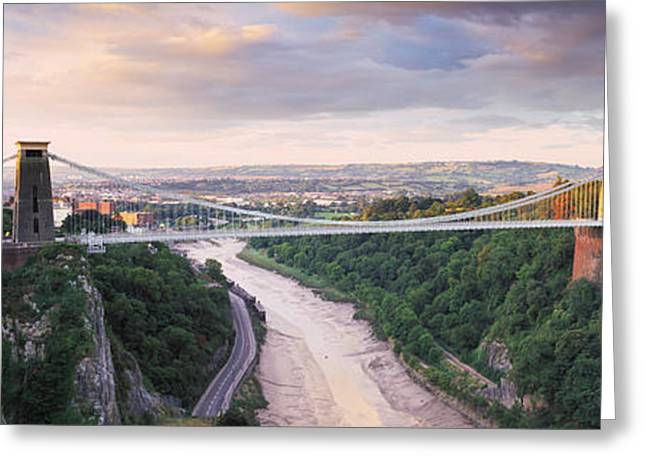 Avon Greeting Cards - Bridge Across A River At Sunset Greeting Card by Panoramic Images