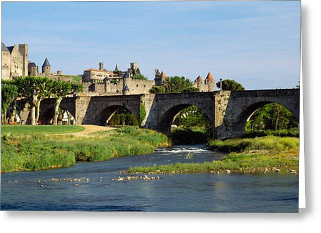 Carcassonne Greeting Cards - Bridge Across A River, Aude River Greeting Card by Panoramic Images