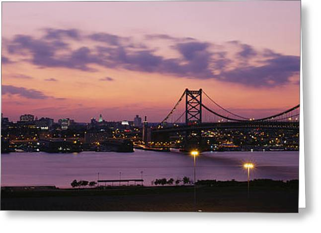 Ben Franklin Bridge Greeting Cards - Bridge Across A River, Ben Franklin Greeting Card by Panoramic Images