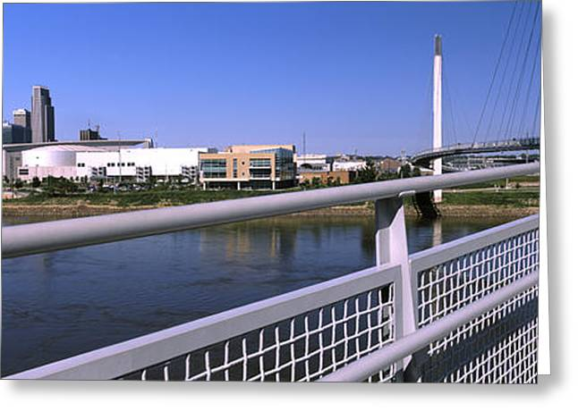 Omaha Greeting Cards - Bridge Across A River, Bob Kerrey Greeting Card by Panoramic Images