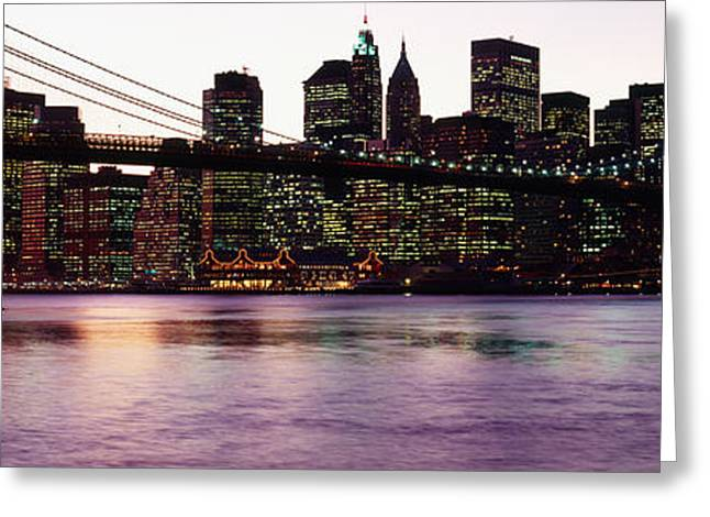 Famous Bridge Greeting Cards - Bridge Across A River, Brooklyn Bridge Greeting Card by Panoramic Images