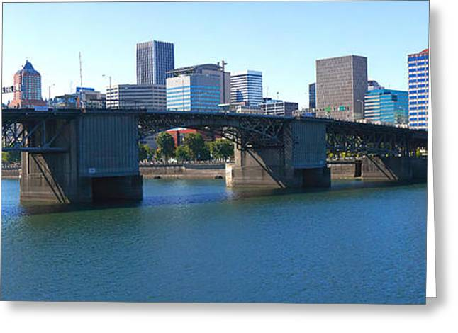 Willamette Greeting Cards - Bridge Across A River, Burnside Bridge Greeting Card by Panoramic Images