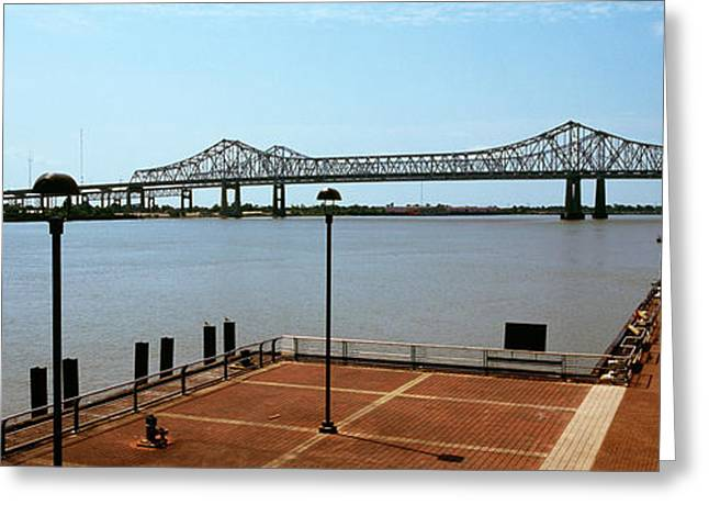 Mississippi River Scene Greeting Cards - Bridge Across A River, Crescent City Greeting Card by Panoramic Images
