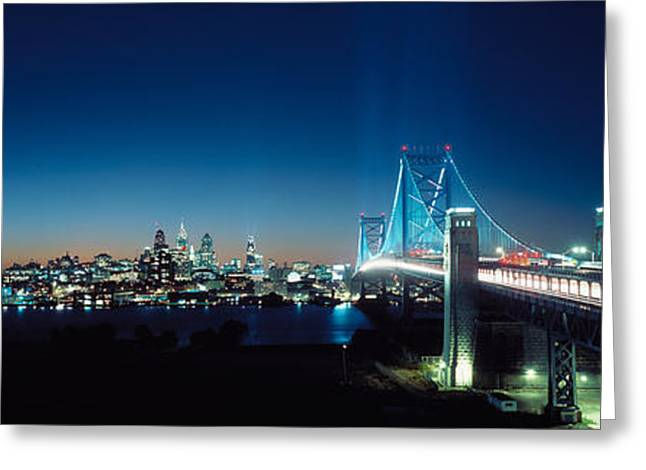 Philadelphia Greeting Cards - Bridge Across A River, Delaware Greeting Card by Panoramic Images
