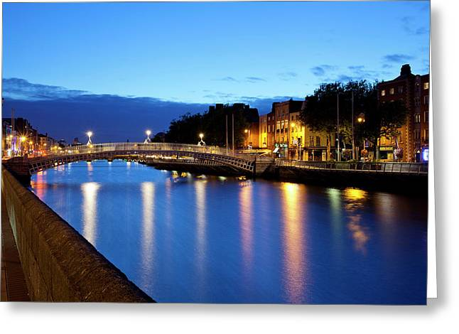Bridge Across A River, Hapenny Bridge Greeting Card by Panoramic Images
