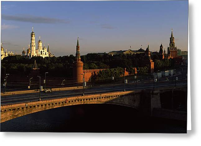 Bridge Across A River, Kremlin, Moskva Greeting Card by Panoramic Images