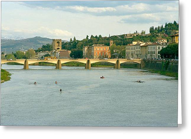 Sculling Greeting Cards - Bridge Across A River, Ponte Alle Greeting Card by Panoramic Images