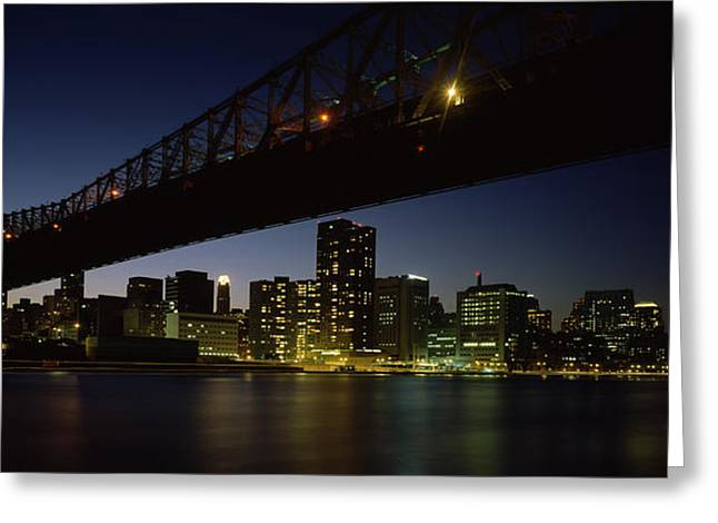 Famous Bridge Greeting Cards - Bridge Across A River, Queensboro Greeting Card by Panoramic Images