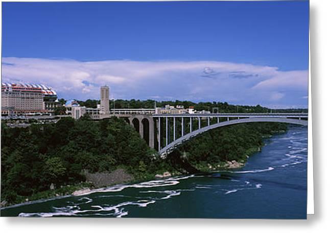 Niagara River Greeting Cards - Bridge Across A River, Rainbow Bridge Greeting Card by Panoramic Images