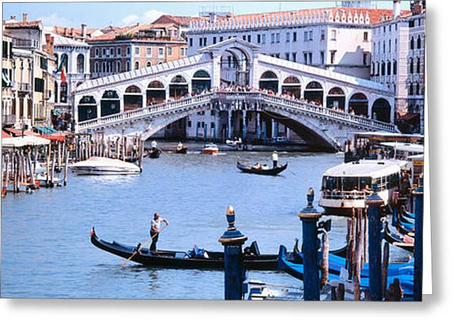 Passenger Ship Greeting Cards - Bridge Across A River, Rialto Bridge Greeting Card by Panoramic Images