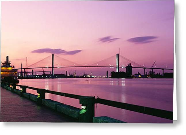 Savannah Photography Greeting Cards - Bridge Across A River, Savannah River Greeting Card by Panoramic Images