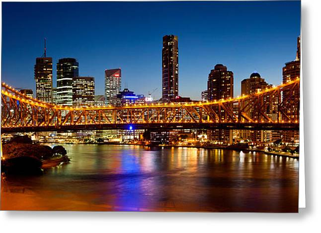 Famous Bridge Greeting Cards - Bridge Across A River, Story Bridge Greeting Card by Panoramic Images