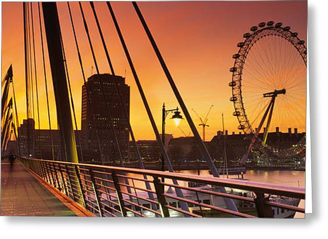 Famous Bridge Greeting Cards - Bridge Across A River With A Ferris Greeting Card by Panoramic Images
