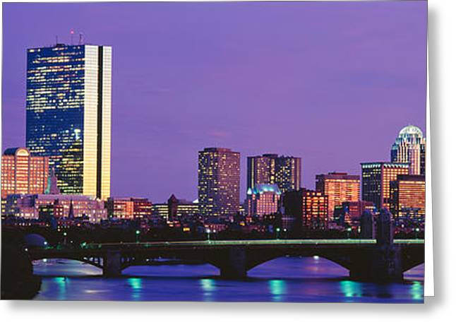 Back Bay Greeting Cards - Bridge Across A River With City Greeting Card by Panoramic Images
