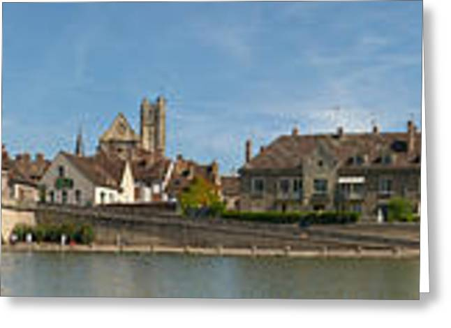 Burgundy Greeting Cards - Bridge Across A River, Yonne River Greeting Card by Panoramic Images