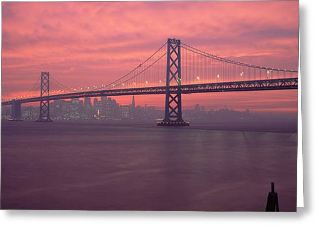 Famous Bridge Greeting Cards - Bridge Across A Sea, Bay Bridge, San Greeting Card by Panoramic Images
