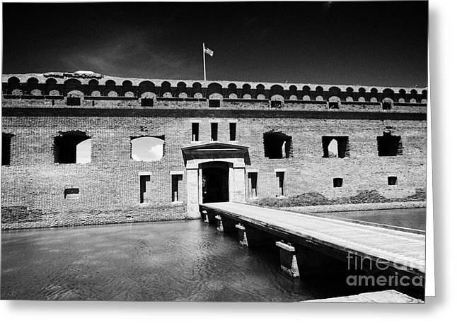 Dry Tortugas Greeting Cards - Bridge Across The Moat Sally Port Entrance To Fort Jefferson Dry Tortugas National Park Florida Keys Greeting Card by Joe Fox
