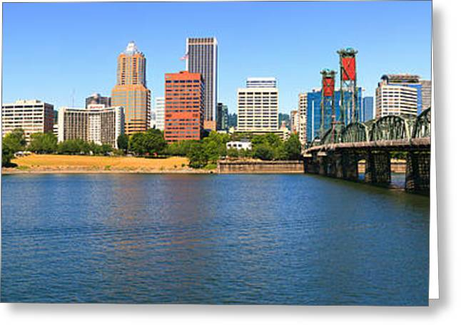 Willamette Greeting Cards - Bridge Across The River, Hawthorne Greeting Card by Panoramic Images