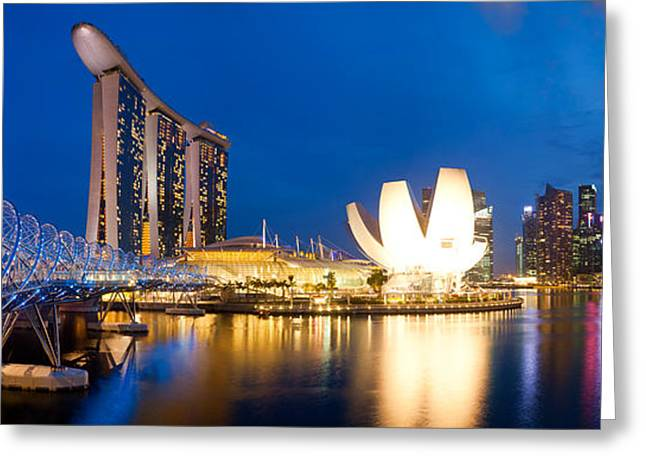 Sand Art Greeting Cards - Bridge Across The River, Helix Bridge Greeting Card by Panoramic Images