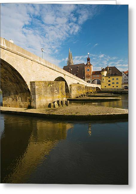 Danube Greeting Cards - Bridge Across The River, Steinerne Greeting Card by Panoramic Images