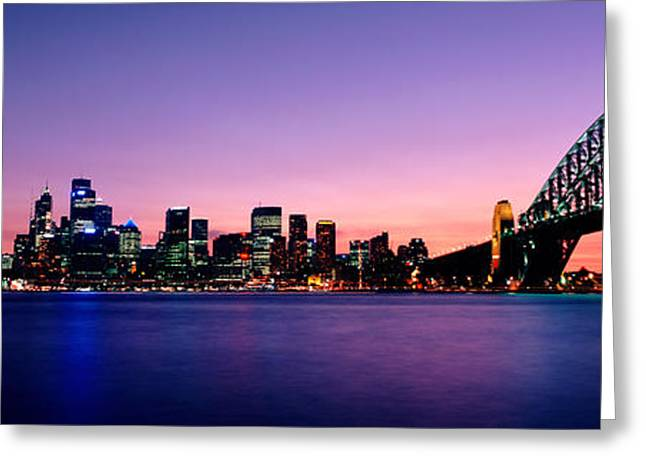 International Photography Greeting Cards - Bridge Across The Sea, Sydney Opera Greeting Card by Panoramic Images