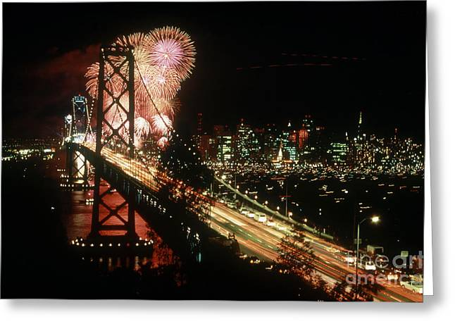 Festivities Greeting Cards - Bridge And Fireworks, San Francisco, Ca Greeting Card by Dale Boyer