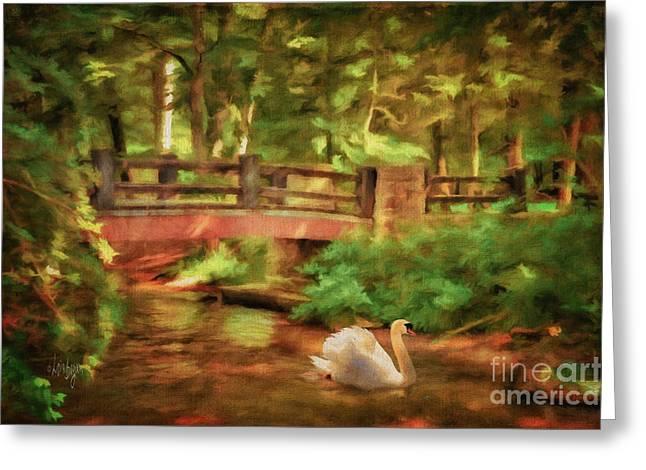 Stream Digital Art Greeting Cards - Bridge and Swan Greeting Card by Lois Bryan
