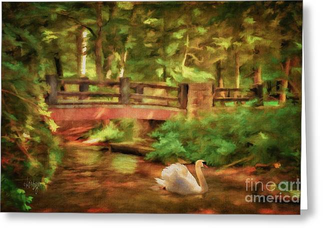 Stream Digital Greeting Cards - Bridge and Swan Greeting Card by Lois Bryan