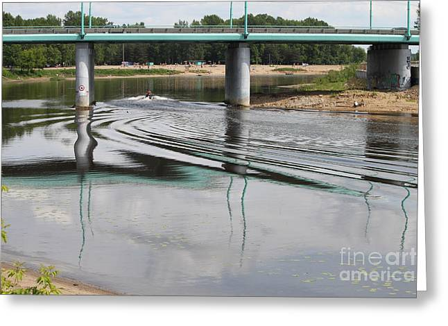 Blue Green Wave Greeting Cards - Bridge and waves Greeting Card by Evgeny Pisarev