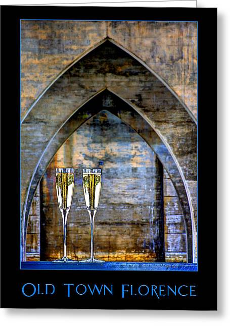 Gamay Photographs Greeting Cards - Poster Bridge Architecture Florence Oregon Coast Sparkling Wine Inverted Image Greeting Card by David Rigg
