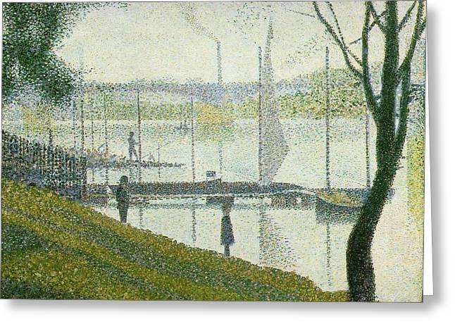 Courbevoie Greeting Cards - Bridge at Courbevoie Greeting Card by Georges Seurat