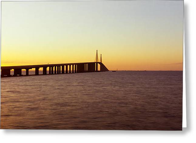 Florida Bridge Greeting Cards - Bridge At Sunrise, Sunshine Skyway Greeting Card by Panoramic Images