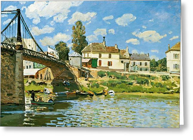 Exploring Paintings Greeting Cards - Bridge at Villeneuve-la-Garenne Greeting Card by Alfred Sisley