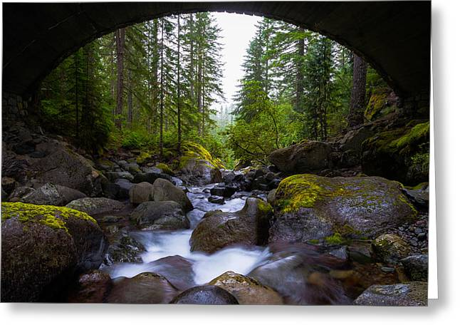 Bridge Below Rainier Greeting Card by Chad Dutson