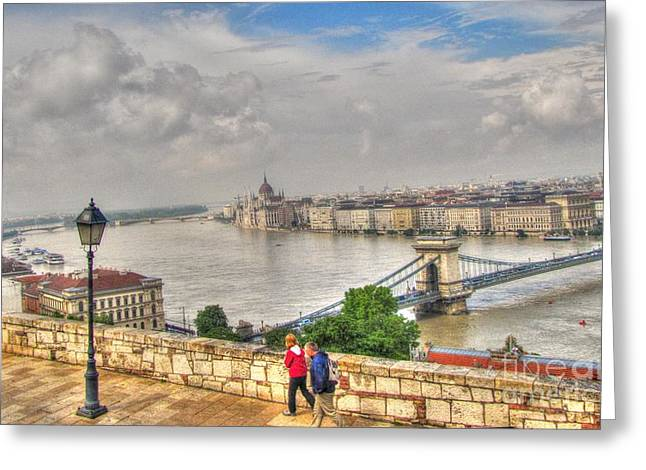 City Of Bridges Pyrography Greeting Cards - bridge  Budapesht Greeting Card by Yury Bashkin