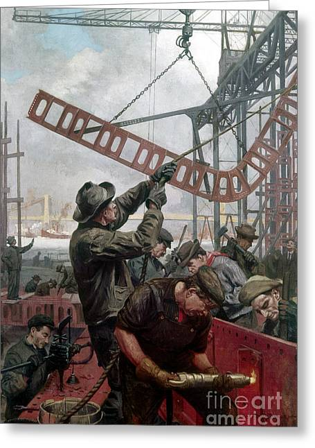 Rivets Paintings Greeting Cards - Bridge Construction 1909 Greeting Card by Granger