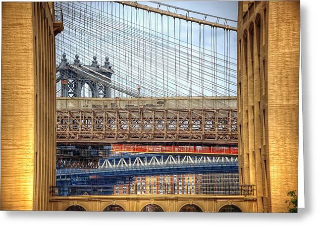 Manhattanbridge Greeting Cards - Bridge Convergence in Brooklyn Greeting Card by Vicki Jauron