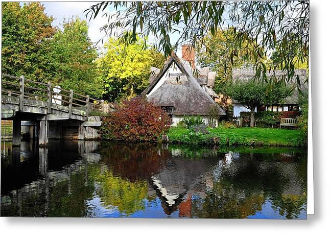Constable Greeting Cards - Bridge Cottage Flatford Mill Greeting Card by Diana Mower
