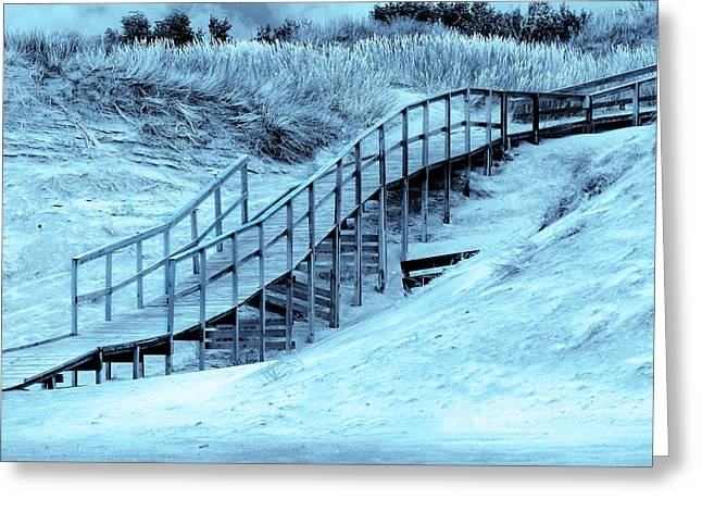Walk Paths Mixed Media Greeting Cards - Bridge down to the sea Greeting Card by Toppart Sweden