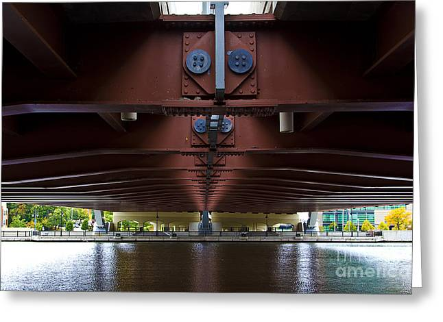 Frederick Douglass Greeting Cards - Bridge from the underside Greeting Card by Sheldon Perry