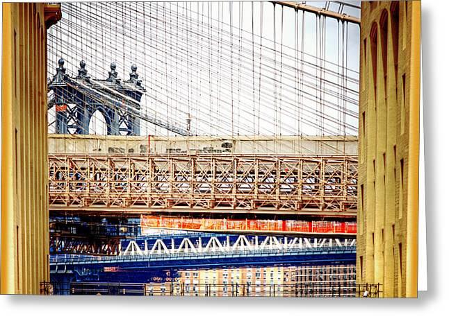 Manhattanbridge Greeting Cards - Bridge in a Box Greeting Card by Vicki Jauron