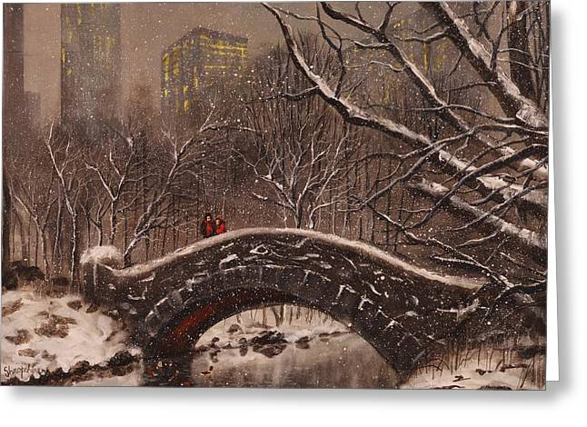 Park Scene Paintings Greeting Cards - Bridge in Central Park Greeting Card by Tom Shropshire